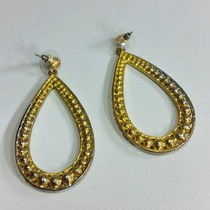 Jewelry - Puce Brown Crystal Tear Drop Dangle Hoop Earrings